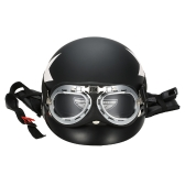 Half Open Face Motorcycle Helmet with Goggles Visor Scarf Biker Scooter Touring