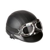Motorcycle Scooter Casque en cuir à couverture directe avec visière UV Goggles Rétro Vintage Style 54-60cm