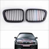 2Pcs Matte Black M-color Front Grille for BMW E46 3 Series 4 Door 1998-2001