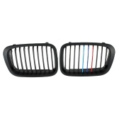 Second Hand One Pair Matt Black Front Kidney Grille M Style Grill with Red Blue & Dark Blue Color Decoration for BMW E46 4 Door 98-01