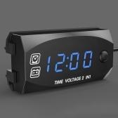 Мотоцикл DC 6V-30V 2 в 1 цифровые часы вольтметр напряжения IP67 водонепроницаемый тестер аккумулятор монитор датчик для автомобиля лодка морской