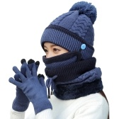 4Pcs Women Warm Thick Hat Scarf Winter Sets Cap Face Cover Gloves Collar Face Protection Girls Knitted Hat (Blue)