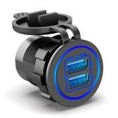Двойное USB-зарядное устройство, розетка, 5 В, 4,8 А, быстрая зарядка, со светодиодным сенсорным переключателем, для автомобиля, лодки, морского квадроцикла, грузовика и мотоцикла, 12 В / 24 В