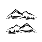 1 par de pegatinas de montañas calcomanías para el lado de la puerta de la carrocería del coche, nieve, montañas, calcomanía gráfica de vinilo, decoración para SUV, camiones, vehículos todo terreno