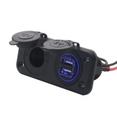 5V 4.8A Dual USB Car Charger Switch Panel 2 Ports Red Light Waterproof Cigarette Lighter Socket 12V 24V Power 1 Meter Power Cord for Car Truck Marine Boat