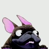 1 шт., Наклейка на автомобиль для собак, забавное лицо, большие уши и глаза, наклейка с мопсом для автомобиля, заднее окно, настенная дверь, ноутбук 8,7 * 6,3 дюйма