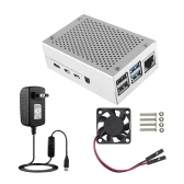 Чехол для Raspberry Pi 4 с алюминиевым металлическим охлаждающим вентилятором 5V 3A USB-C Блок питания с переключателем ВКЛ / ВЫКЛ для Raspberry Pi 4 Модель B