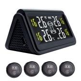 Car TPMS Solar Wireless Tire Pressure Monitor Monitoring System   HD Digital LCD Display Auto Alarm System With 4 External Sensor