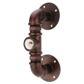 Retro Vintage Personality Bronze Metal Water Pipe Shaped Wall Lamp Holder Light Base for E27 Bulb Room Bar Decoration