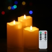 3Pcs/set Cylindrical Lamp Tealight Candles with Remote Control