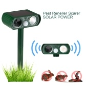 Solar Powered Ultrasonic Pest Repeller White LED Flash Scare Animal