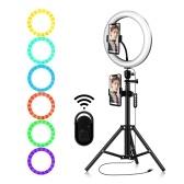 10.2 pulgadas regulable 184 LED RGB y 2700-6500K Luz de fotografía Lámpara Selfie operada por USB 10 niveles de brillo ajustable con control remoto conectado BT Soporte de trípode estirable y soporte para teléfono móvil para transmisión en vivo / maquillaje / video show