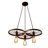 Lixada 3 Arms E27 Hanging Metal Wheels Pendant Light