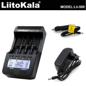 LiitoKala Lii-500 4 Slots LCD Smartest Battery Charger Kit with Car Charger EU Adapter