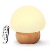 Wooden Base Mushroom shape Light Sleeping Lamp with Remote Control