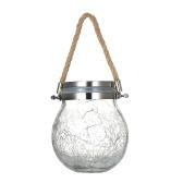 Luce solare a sospensione esterna Crepa Palla di vetro Lampada a sospensione solare Lampada a sospensione Fata Paesaggio Patio Vaso da giardino Luce solare 1 Pz