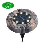 Solar Powered Ground Light 8 LEDs Underground Lamp IP65 Water-resistant Outdoor Garden Landscape Lighting