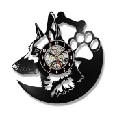 12 inch Wall Clock Retro Wall Mounted Timepiece Shepherd Dog Animal Design LP Clock(Without Light)