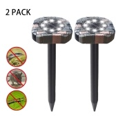 Solar Powered Ultrasonics Pest Repeller LEDs Lawn Light Repel Mole Gopher Vole Mouse Chaser for Outdoor for Lawn Garden Yard Home Humane Pest Control Rodent Repellent 2pack