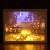 Lâmpada noturna de escultura em papel 3D LED Papercut caixa de luz esculturas moldura presente lâmpada decorativa