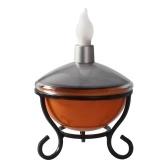 Solar Panel L-ED Candle Lamp Iron Art Base Manual Switch Brightness Adjustable Outdoor Waterproof Landscape Lamp