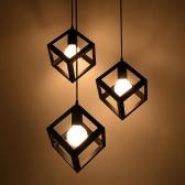 E27 Lampholder Vintage Ceiling Pendant Quadrate Iron Chandelier