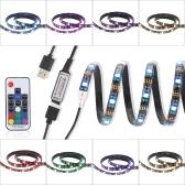 2M USB 14W 60 LED RGB Elastyczne Taśmy LED SMD5050 RF Remote Control Light Taśma Tryby 22 20 Statyczne Dynamiczne Kolory 8 poziomów jasności na Nowy Rok Świąteczne Event Show Wystawa Taśma tle dekoracji Atmosphere Ribbon Lamp