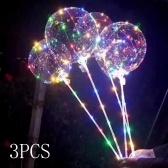3 Unids 18 pulgadas LED Luminoso Globo BoBo Transparente Led Luz Colorida Lámpara Intermitente con Palo para Cumpleaños Boda Decoraciones Del Día de San Valentín