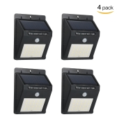 4 Pack 20LEDs Rechargeable Solar Powered Wall Lamp with PIR Motion Sensor