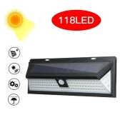 118 LEDs Solar Powered Lamp PIR Motion Sensor Wall Light