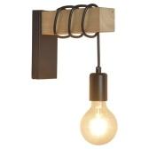Lámpara de pared de madera Diseño industrial Lámpara de pared retro Accesorio Lámpara de pared de decoración de sala de estar (base E27)