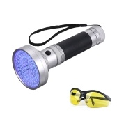 100LEDs UV Portable Flash Light Detector with Goggles for Pet Urine Stains etc.