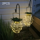 2PCS DC2V 0.08W 25 LED de piña Solar Powered Hanging Light