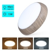 Wooden Fixture 60LEDs Ceiling Light 3000k/4000k/6000k 3 Lighting Colors Round Flush Mount Ceiling Lamps
