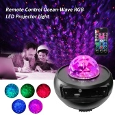 Remote Control Ocean-Wave Projector Light Night Lamp with 9 Diverse Lighting Modes Effects 3 Levels Dimmable Brightness Adjustable/ Timer Timing Timing Setting Function/ Speed Adjustable Supported Card Reader/ USB/ BT Connected Music Speaker Player for Bedroom Decoration Living Room Home Party Present Gift