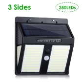 Three Sides 250 LEDs Solar Wall Light Lighting and PIR Motion Sensor Lights