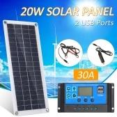 DC 5 V / 18 V Dual Output 20 W Solarpanel mit 2 USB-Anschlüssen und Autoladung IP65 Wasserbeständigkeit 12 V / 24 V Solarladeregler PWM Intelligenter Regler