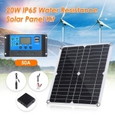 20W D C 9V/18V Flexible Solar Panel with 50A L-ED Display Controller Kit Set with USB/ Type C Interface & Car C-harger 10/20/30/40/50A Solar C-harge Controller IP65 Water Resistance for Home Car Boat Indoor Outdoor Use Portable