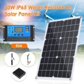 30W D C 9V/18V Flexible Solar Panel with 50A L-ED Display Controller Kit Set with USB/ Type C Interface & Car C-harger 10/20/30/40/50A Solar C-harge Controller IP65 Water Resistance for Home Car Boat Indoor Outdoor Use Portable