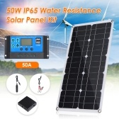 50W D C 9V/18V Flexible Solar Panel with 50A L-ED Display Controller Kit Set with USB/ Type C Interface & Car C-harger 10/20/30/40/50A Solar C-harge Controller IP65 Water Resistance for Home Car Boat Indoor Outdoor Use Portable