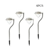 4PCS Solar Power Diamond Lights Outdoor Path LED Night Lamp