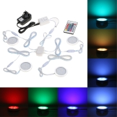 Docooler Set of 4 Under Cabinet RGB Light Kit 9LEDs Puck Lamp IR Remote Control Multi-color Dimmable Mood Lighting for Under Kitchen Display Closet Book Shelf