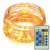 10M / 33 pies 100 LED luz de la secuencia de cobre alambre LED blanco cálido estrellada de voz activado por la luz con el adaptador y el control remoto para fiestas de cumpleaños de la boda de Navidad