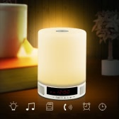 Lixada Multifonctionnel Portable parleur sans fil Bluetooth Musique Sound Box avec fonction réveil LED Lampe de table toucher la lampe support mains libres Appel fente de carte TF pour bureau Salon