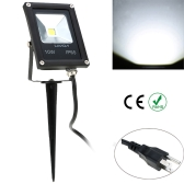 Lixada Real Power 10W 85-265V AC IP65 Ultrathin LED Flood Light with Wire & Stake US Plug Outdoor Garden Tunnel Square Yard Landscape Lighting CE RoHs