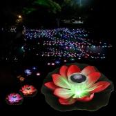 0.1W солнечной энергии Разноцветного светодиодного цветок лотос лампа RGB водостойкого Открытый Floating пруд Night Light Auto On / Off для сада бассейна партии Идеального подарок розового