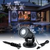 Bewegen 4W 4LED Dynamische Snowflake Film-Projektor-Licht mit austauschbarer Basis Muster Dekoration Garten-Rasen-Lampen-Festival Spotlight für Weihnachtsweihnachtsfest-Hochzeit