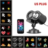 7W 12 Patterns RGBW LEDs Projector Stage Light AC 110-240V Water Wave Moving Christmas Light with Remote Control
