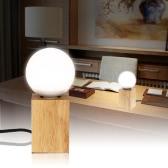 Creativas 3 temperaturas de color Tabla ajustable Roble claro Base de madera con LED E26 interruptor del bulbo de lámpara de escritorio retro moderno Cafe Bar Tienda del Club Decoración