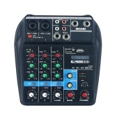 Portable 4-Channel BT Sound Mixing Console Digital Audio Mixer Built-in Reverb Effects for Recording DJ Network Live Broadcast